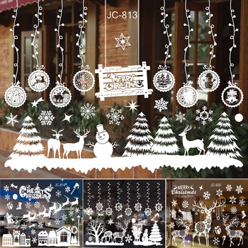 Cristmas Wall Window Christmas Stickers Christmas Decoration For Home 2020 Merry Christmas Ornaments Xmas Navidad New Year 2021 christmas decoration set pink let it snow kit paper snowflake fans navidad new year ornaments new
