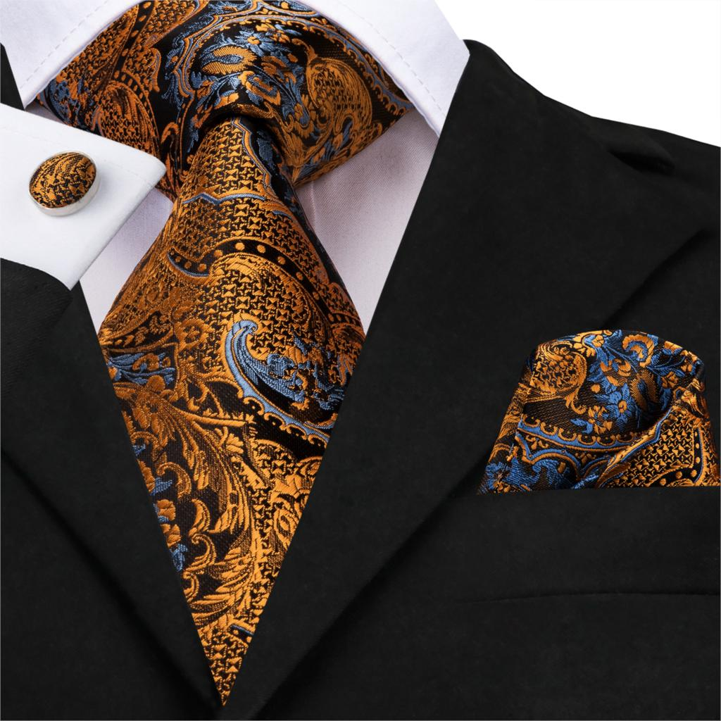 Hi-Tie 100% Silk Luxury Mens Ties Floral Black Gold Ties Paisley NeckTie Pocket Square Cufflinks Set Men's Wedding Party Tie