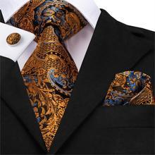 Hi-Tie 100% Silk Luxury Mens Ties Floral Black Gold Paisley NeckTie Pocket Square Cufflinks Set Wedding Party Tie