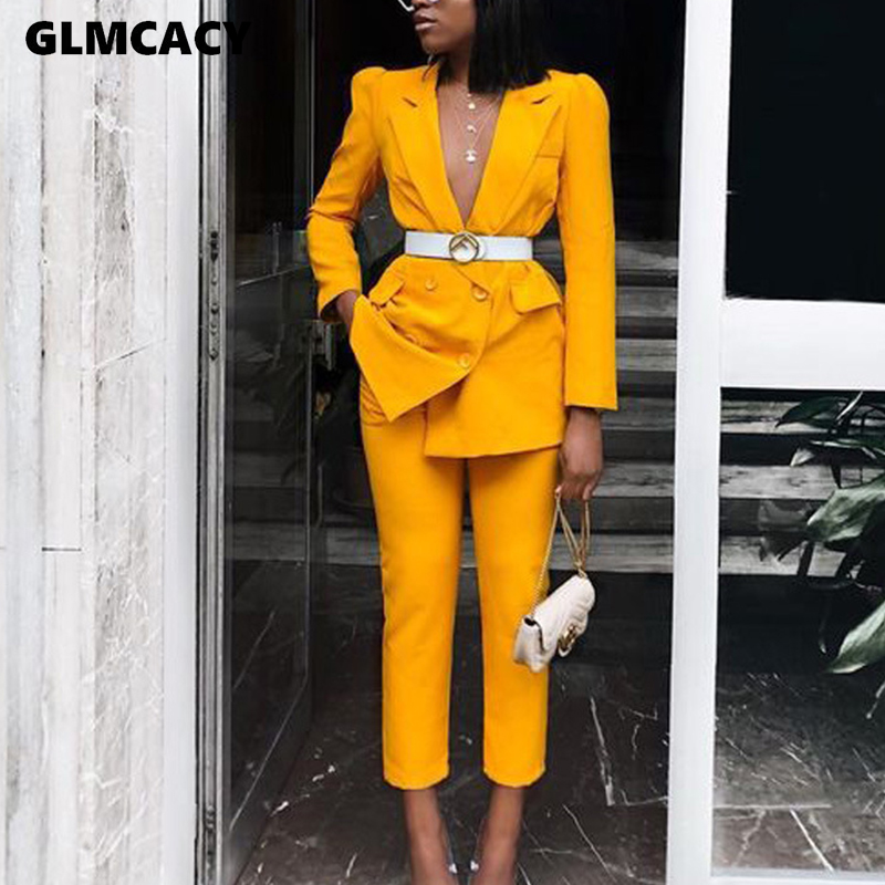 Women Business Pant Suits 2 Piece Set Slim Blazer Jacket And Dress Pants Set Office Lady Business Office Work Suit