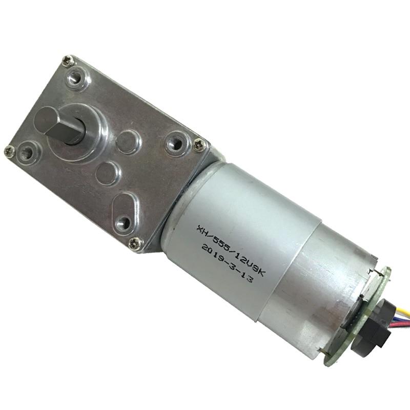 30W DC Worm Geared Motor Encoder 24V 12V High Torque Electric In DC Motor 12-470RPM Self Locking Adjustable Speed Reversed Motor