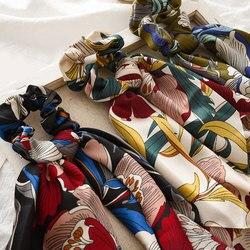 Fashion Floral Print Scrunchie Elastic Hair Band For Women Hair Scarf Bohemian Bows Rubber Ropes Hair Accessories Headwear Hot