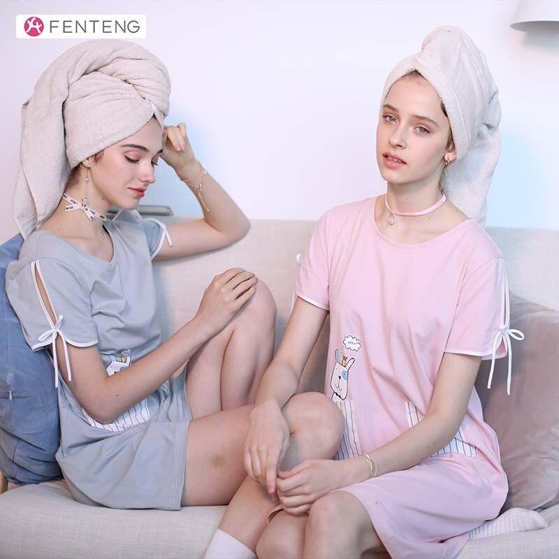 FENTENG Summer Pajamas Women Cotton Short Sleeves Casual Sleepwear Dress Pocket Comfortable Female Homewear Female  X8921817