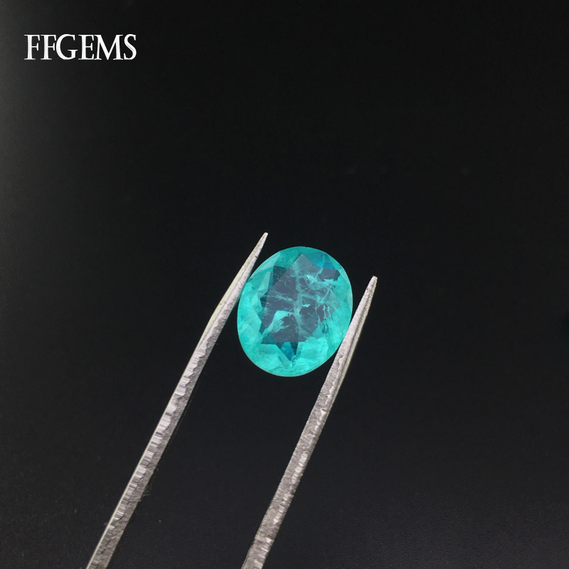 FFGems Brazilian Paraiba Tourmaline Loose Gemstone Created Stone Oval Cut for Women Silver or Gold Mounting Diy Jewelry