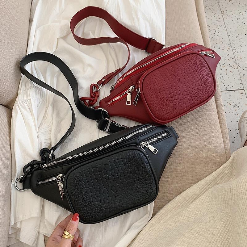 2020 Fashion Stone Pattern PU Leather Chain Waist Bag Banana Bag On A Belt Leisure Fanny Pack Women Satchel Belly Band Belt Bag