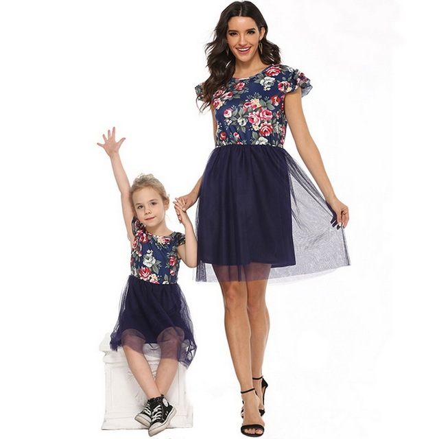 2020 Mother Daughter Dresses Short Sleeve Floral Short Dress Family Clothes Mom Daughter Princess Dress Family Matching Clothes 3