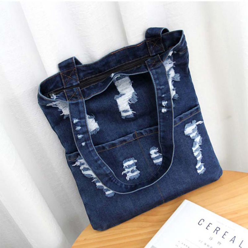 2019New Women Bag Large Capacity Cowboy Handbag Wild Casual Canvas Denim Shoulder Bag Flap Shopping Bag-in Top-Handle Bags