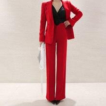 Деловая форма, женские брючные костюмы, комплект из 2 предметов, Красный Тонкий Блейзер, пиджак, офисный, Деловой, офисный, Рабочий костюм