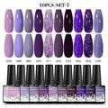 MEET ACROSS Gel Nail Kit 10 Pcs UV Nail Polish Gel Varnishes 8ml For Manicure Need Cured Base Top Coat Nail Set