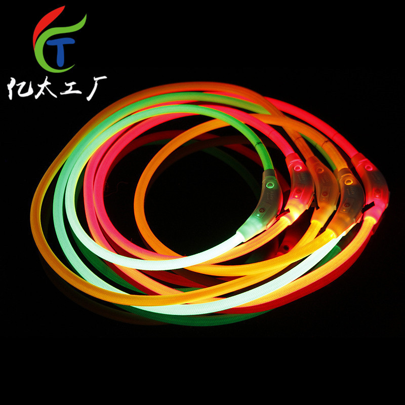 Weaving LED Shining Pet Dog Collar Bite-proof Protector Length 50 Cm 70 Cm Hot Goods