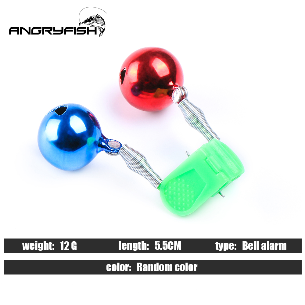 Angryfish 5pcs/lot Fishing Bite Alarms Fishing Rod Bell Rod Clamp Tip Clip Bells Ring Green ABS Fishing Accessory Outdoor Metal