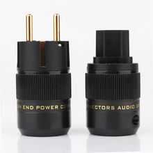 Power-Plug Schuko 24k-Gold-Plated Power-Connector Audio-Power-Adapter High-End AC IEC