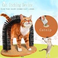 Удобный арочный Массажер для кошек, товары для ухода за котом, круглая флисовая основа для котенка, игрушка для когтеточки, щетка для домашн...