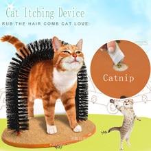 Confortável arco gatos massager gato de estimação comichão aliciamento suprimentos base de lã redonda gatinho brinquedo dispositivo de riscar escova para animais de estimação