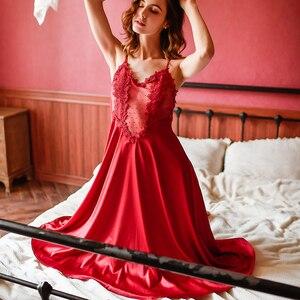 Image 3 - Vêtements de maison en dentelle brodée de motifs floraux, vêtements de nuit pour femmes, Lingerie Sexy, nuisette, chemise de nuit
