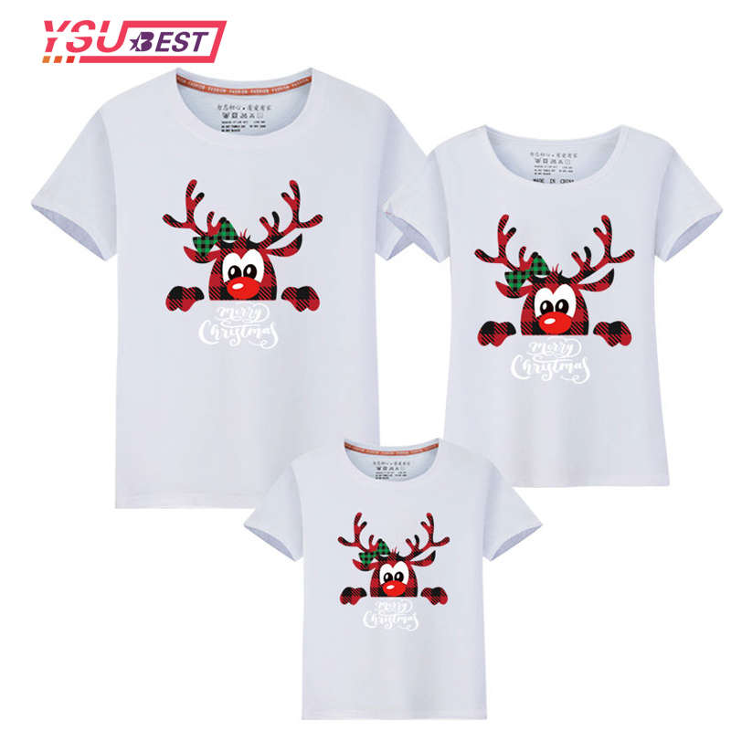 New Xmas Matching Family Outfits New Christmas Deer Dad Mom Kids Baby Mother Daughter Short Sleeve Matching Family Look T Shirts