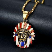 Hip Hop Gold Farbe Edelstahl Indischen Chef Anhänger Halsketten für Männer Rock Schmuck Drop Verschiffen