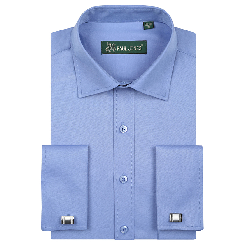 Luxury Men's French Cuffs Solid Plain Dress Shirts Single Patch Pocket Long-Sleeve Regular-fit Tuxedo Shirt (Cufflinks Included)