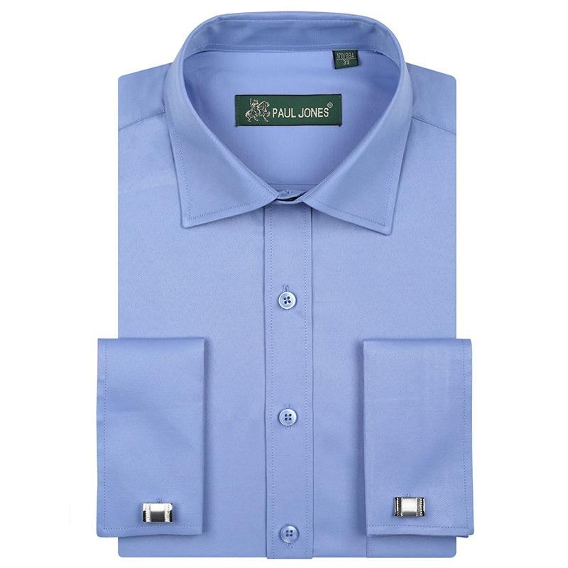 Men's French Cuff Long Sleeve Dress Shirts Single Patch Pocket Regular Fit Spead Collar Metal Cufflink Formal Business Shirts