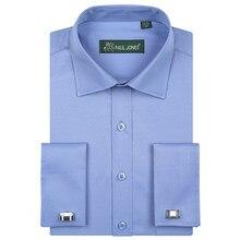 Męski francuski mankiet z długim rękawem ubranie koszule pojedynczy naszyta kieszeń regularny krój Spead Collar metalowe spinki do mankietów formalne koszule biznesowe