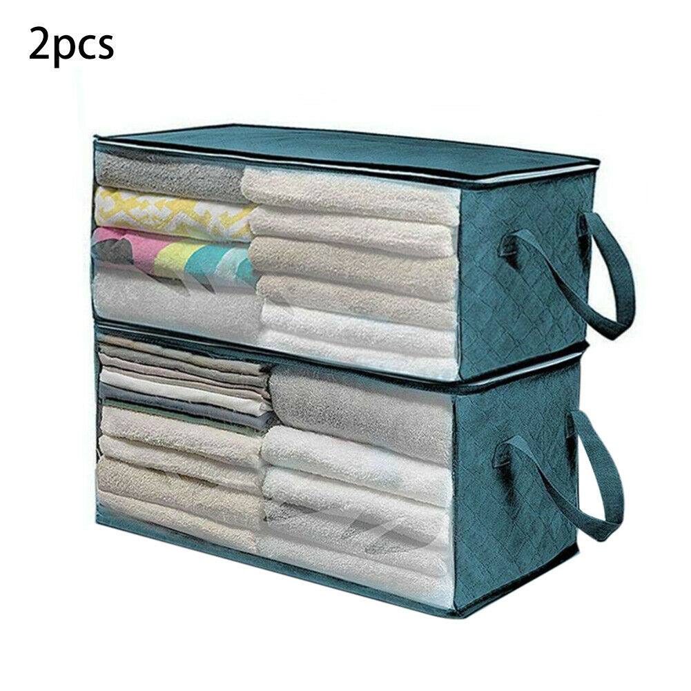 2pcs/set Container Quilt Portable Closet Bag Folding Moisture Proof Sweater Clothes Blanket Zipper Organizer Storage Box Luggage