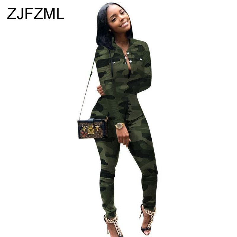 Camouflage Sporty Two Piece Set Womens Clothing Turn-Down Collar Long Sleeve Button Up Blouses And Skinny Pants 2pcs Sweat Suits
