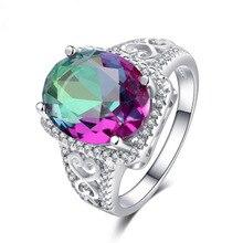 Regenbogen Zirkon Stein Runde Ring Vintage-Schmuck Luxus Versprechen Hochzeit Ringe Für Frauen