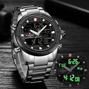 Image 2 - NAVIFORCE montre de luxe pour hommes, en acier, bracelet militaire, numérique de sport, étanche, à Quartz