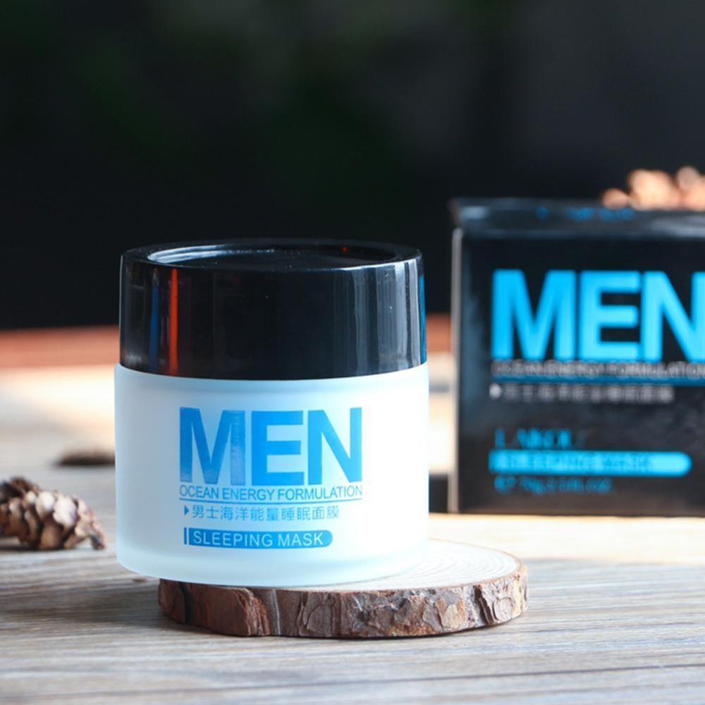 Laikou Men Ocean Energy Sleeping Mask Deep Moisturizing Oil Control Shrink Pores Acne Treatment Skin Care Young Beauty Energy