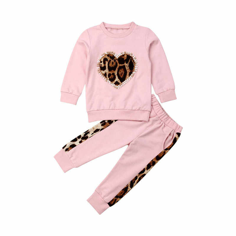 Toddler Kids Baby Girl Winter Warm Clothes Leopard Heart Shape Jumper PulloverTops Long Leggings Pants Outfits Tracksuit Clothes