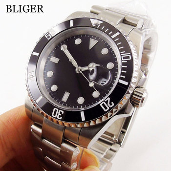 Sapphire Crystal BLIGER 40MM Black Sterile Dial Men's Watch Ceramic Bezel MIYOTA Automatic Movement  Luminous Wristwatch luxury brand bliger mechanical watches 43mm sterile green olive dial gmt ceramic bezel sapphire automatic mens watch p295