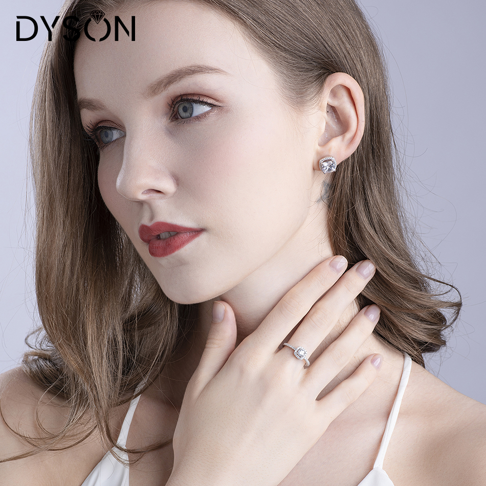 Dyson 925 Sterling Silver Ring Crystal Zirconia Engagement Romantic Design Wedding Brial Ring for Women Classic Fine Jewelry