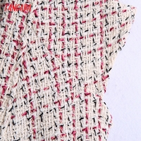 Tangada 2021 Autumn Winter Women Ruffles Tweed Dress V Neck Back Zipper Females Mini Dresses Vestidos BE102 3