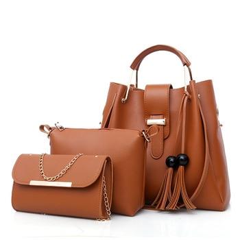 New Fashion 3 Pcs/set Women Handbag Messenger Bags Ladies Shoulder Bag Lady PU Leather Casual Female Shopper Tote Sac Femme Bag