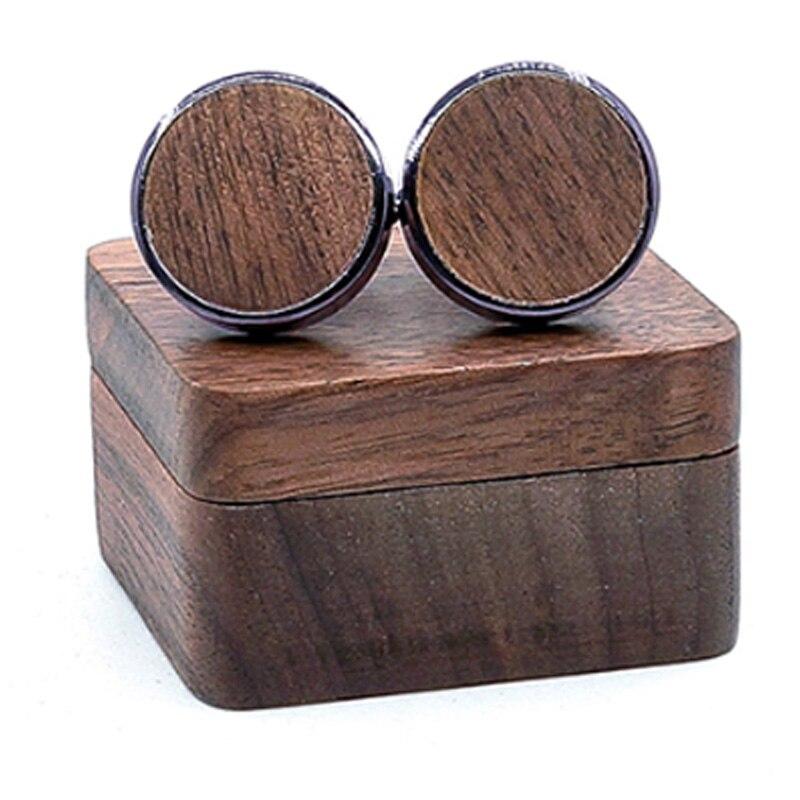 New Wooden Cufflinks Wedding Groom Cufflinks Shirt Cufflinks Men'S Casual Fashion Wooden Gift Box