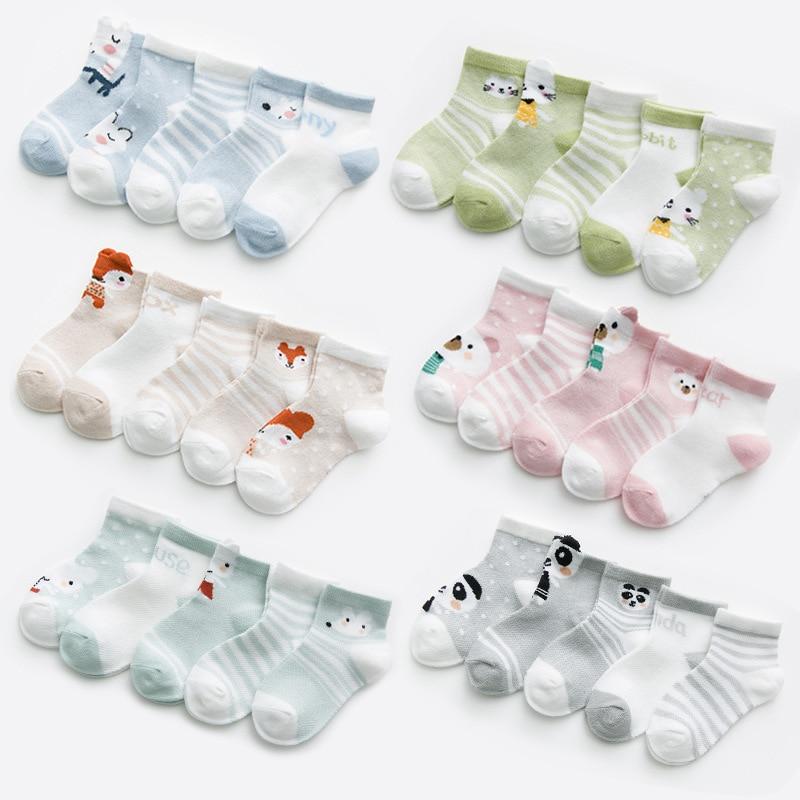 5 пар/лот, От 0 до 2 лет Детские носки для девочек, хлопковые сетчатые милые носки для новорожденных мальчиков, одежда для малышей, аксессуары