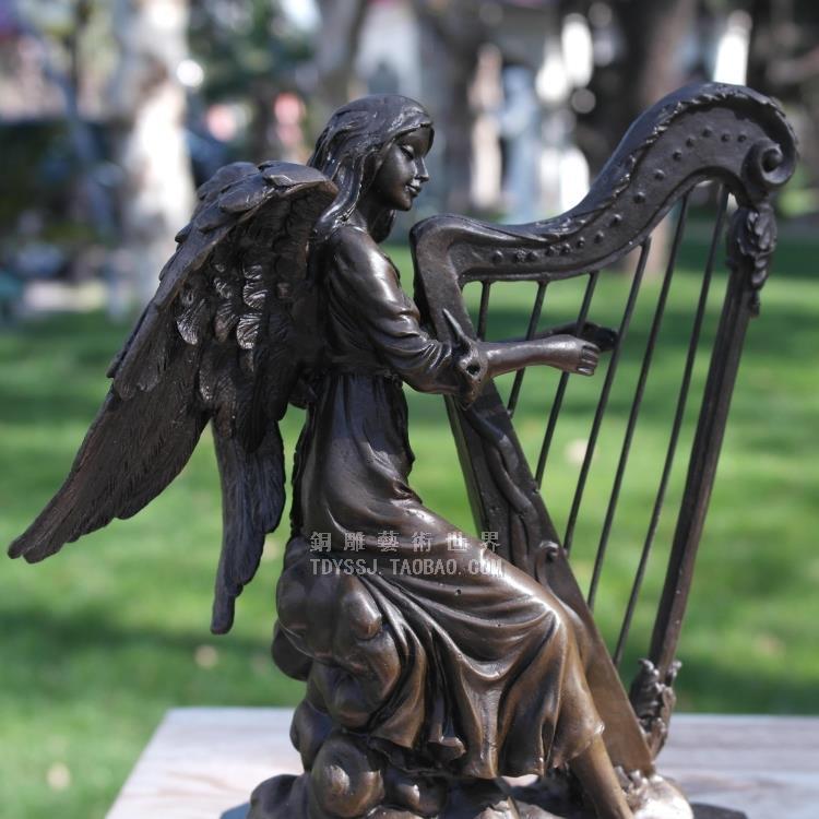 home Copper sculpture Harp Angel Girl Copper Sculpture Crafts Music Figure Sculpture Ornaments Home Decorations Business Gifts