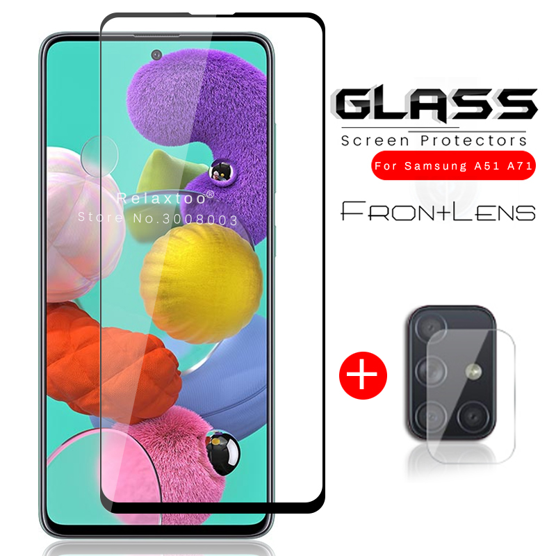 2-in-1 Samsun A 51 71 Glass Camera Protective Glass For Samsung Galaxy A51 A71 A515f A715f Tremp Armored Protection Film Cover
