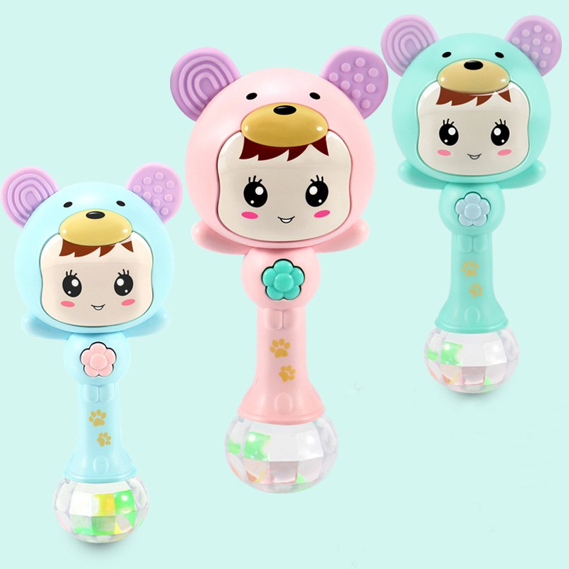 LED Glowing Hand Rattle Music Sand Hammer Soft Teether Development Baby Toy Light Change With Rhythm 3