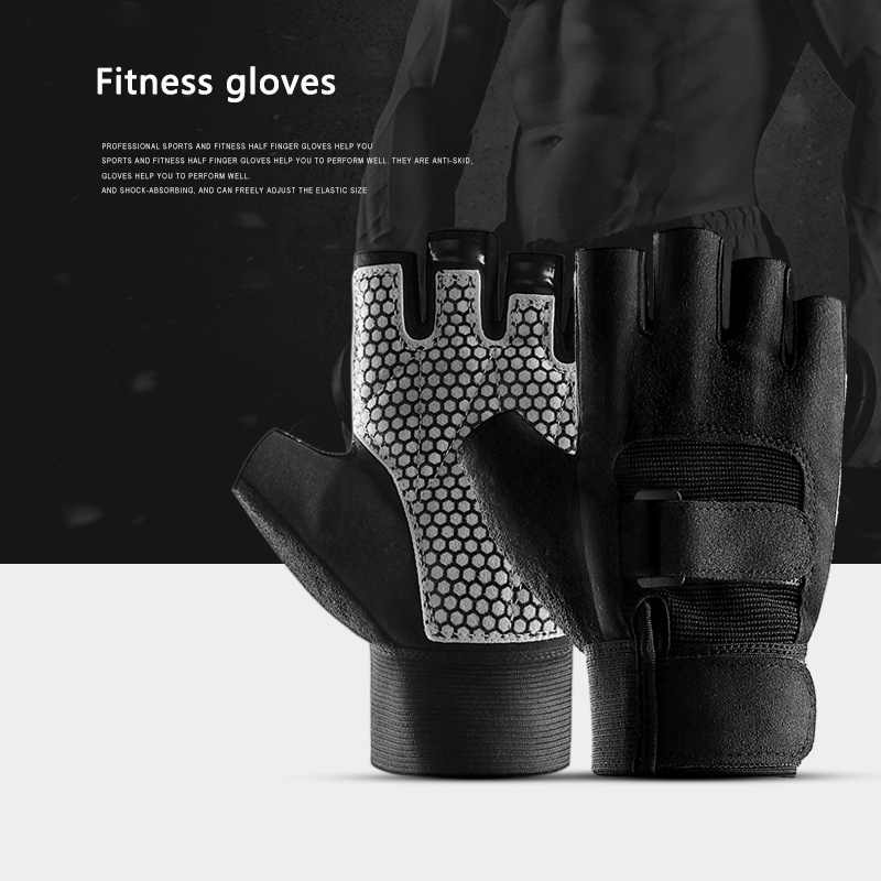1 Pair Gym Half Fingers Gloves Anti-slip Cycling Sport Exercise Weight Lifting Gloves Body Building Training  Fitness Gloves