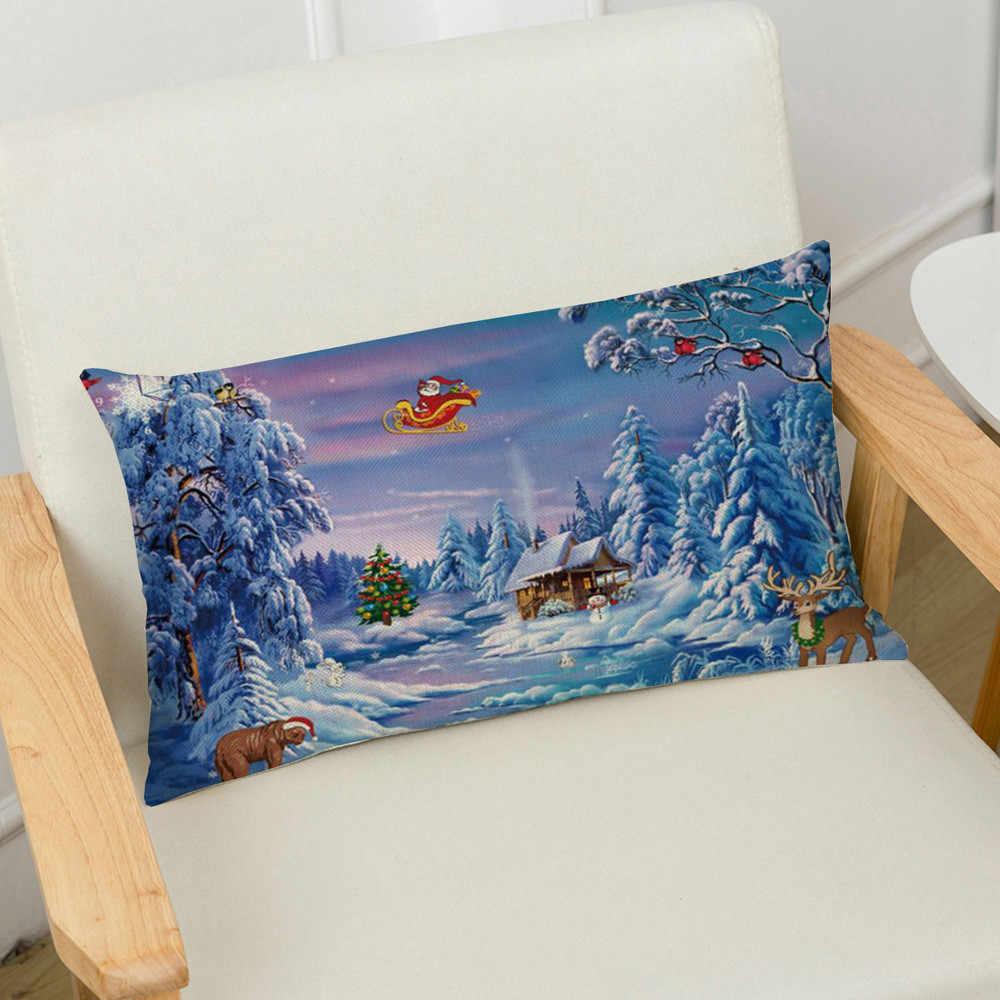 メリークリスマスリネン枕ケースソファ長方形クッションカバー家の装飾長方形ソファチェアホームクッションカバー # R10
