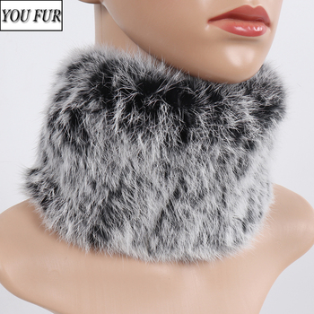 Knitted Good Elastic Real Rabbit Fur Headdband Scarf Winter Women Warm Fluffy Natural Rabbit Fur Scarves Girl Genuine Fur Muffle