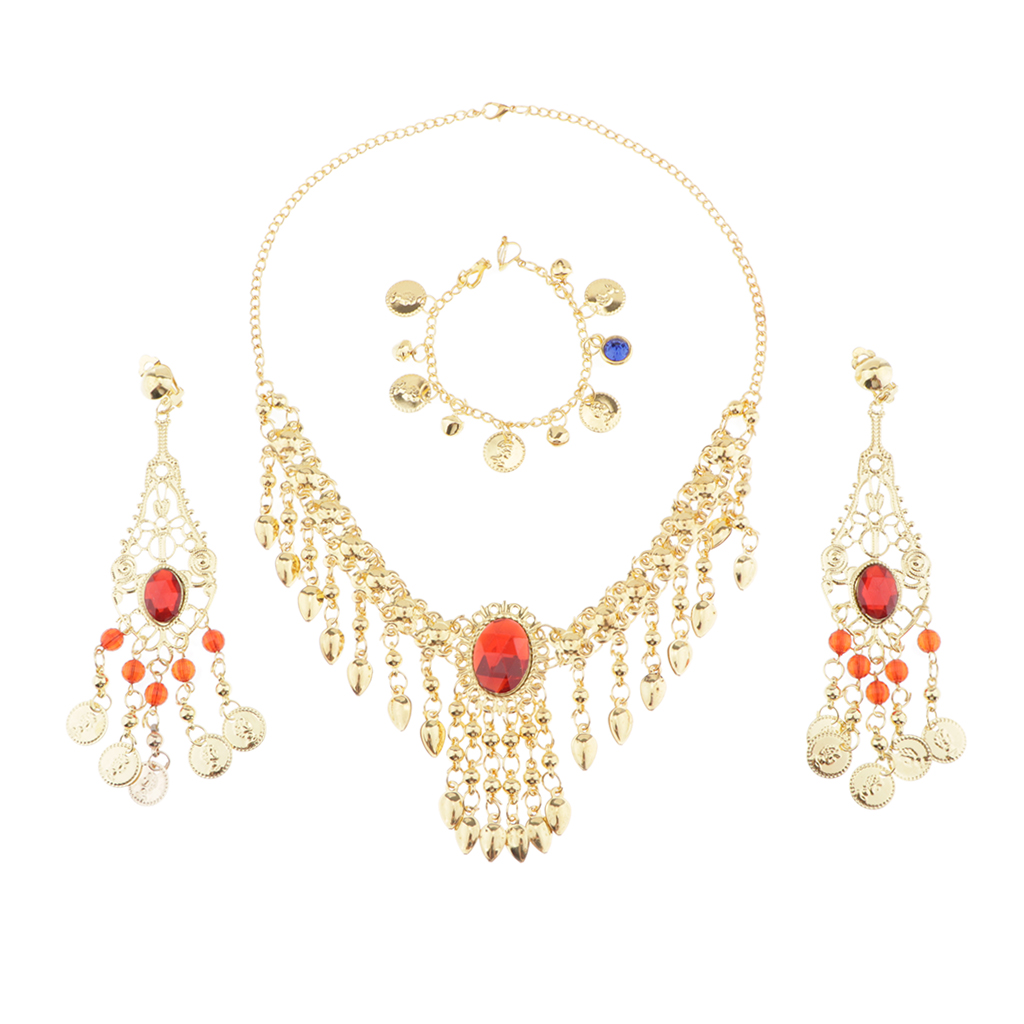 India Dance Belly Dance Jewelry Diamante Necklace ,earrings ,nose Chain