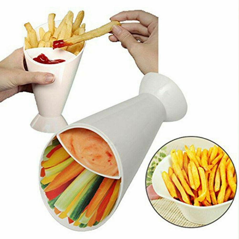 2 In 1 French Fry Potato Cone Chips With Dipping Cup Sauce Dip Assorted Kitchen Jam Ketchup Tool Cup Cone F4R2