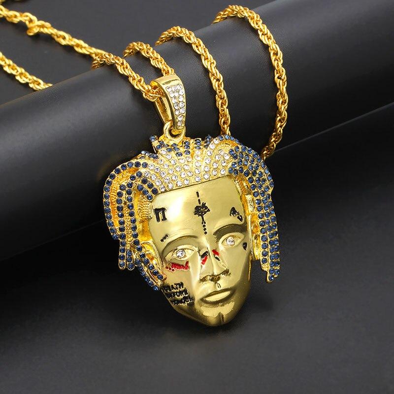 Personalized XXXTentacion Singer Face Necklaces & Pendants Hip Hop Jewelry Women Men Fashion Gold Long Chain Statement Necklace