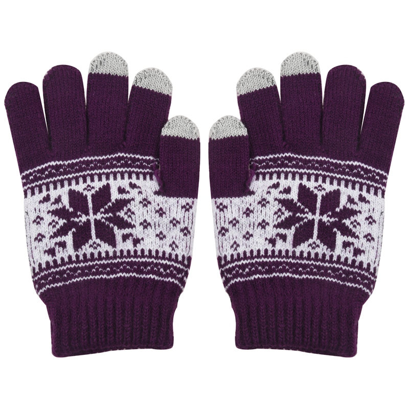 BESTWarm Winter Touchscreen Gloves Ladies Knit Wool Gloves Purple