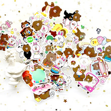 45Pcs/Lot Line Town Brown Bunny Cony Pvc Waterproof Stickers For Laptop notebook Skateboard Luggage Guitar Decal Toy Sticker(China)