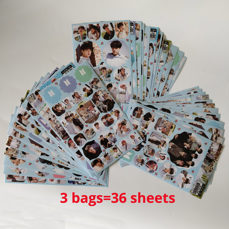 36sheets/lot Korean Super Star Band Sticker Pack Army Toy For Girl Boy Luggage Skateboard Laptop Bomb Waterproof Sticker Set