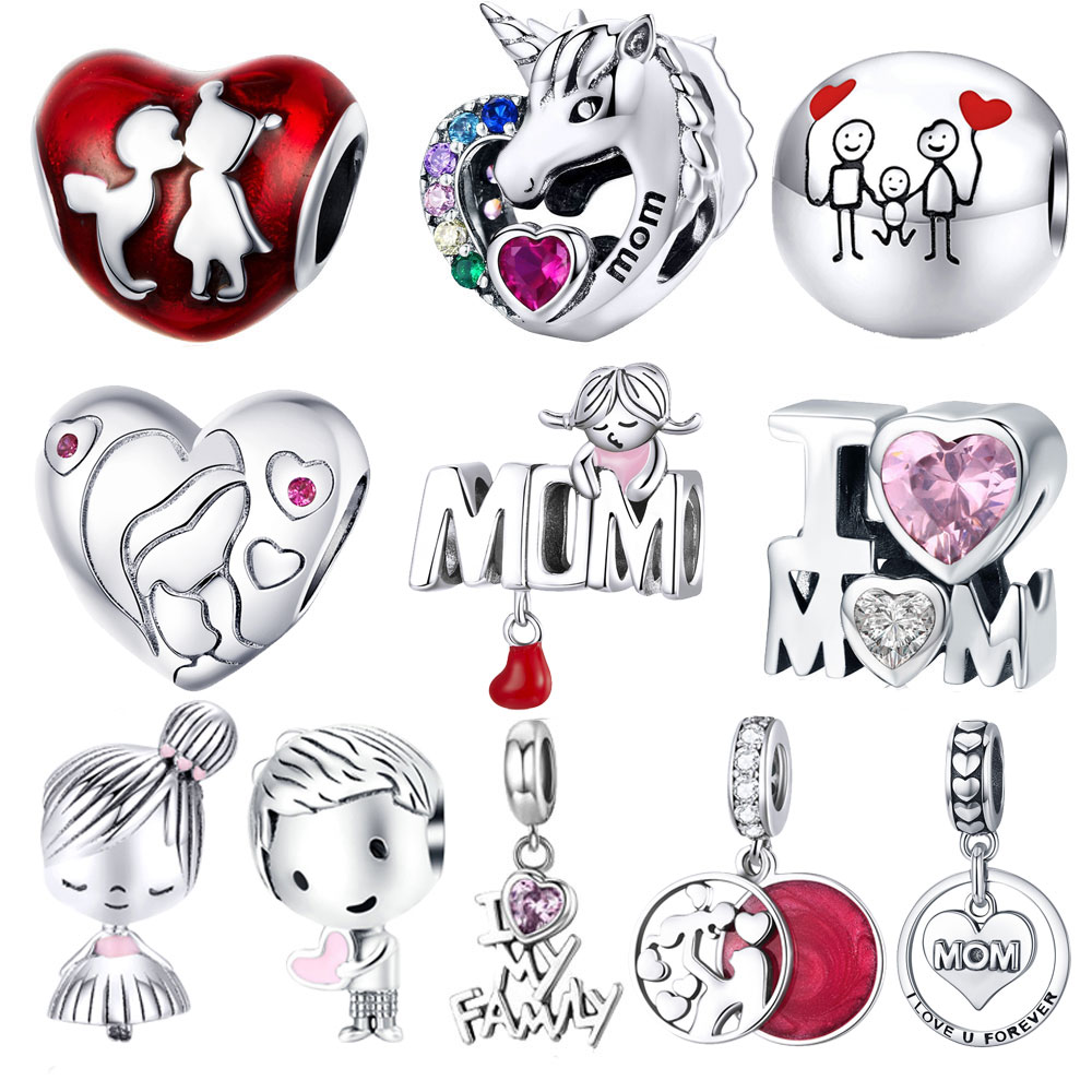 BISAER 925 Sterling Silver Heart Baby arriage Nipple Love MOM Charm Beads Fit Charms Girls Bracelet Silver 925 Jewelry Making(China)