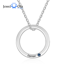 Engraved Necklace Birthstone Stainless-Steel Jewelry Circle-Pendant Gift Custom Women